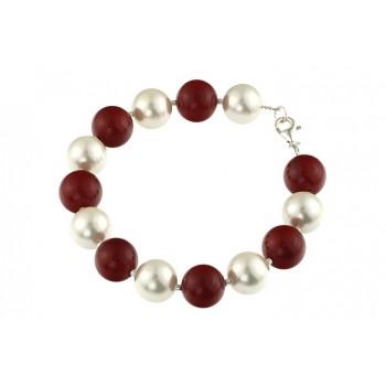 Bratara perle de Mallorca albe si rosii