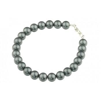 Bratara perle de Mallorca gri si argint