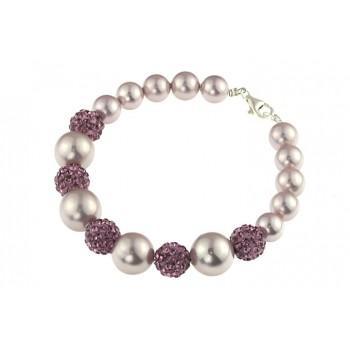 Bratara perle de Mallorca lila si rhinestone
