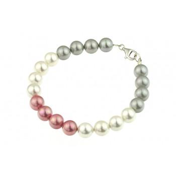 Bratara perle de Mallorca trei culori si argint