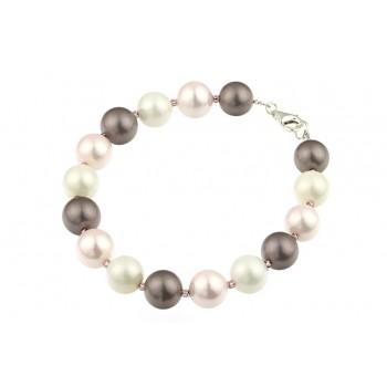 Bratara perle de Mallorca multicolore si argint