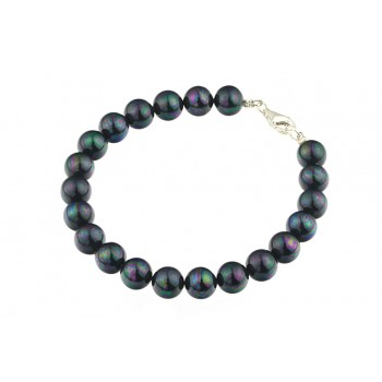 Bratara perle de Mallorca negre si argint
