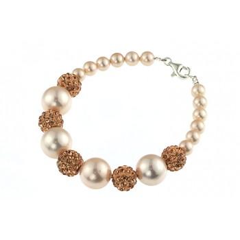 Bratara perle de Mallorca piersica si rhinestone
