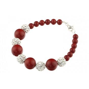 Bratara perle de Mallorca rosii si rhinestone