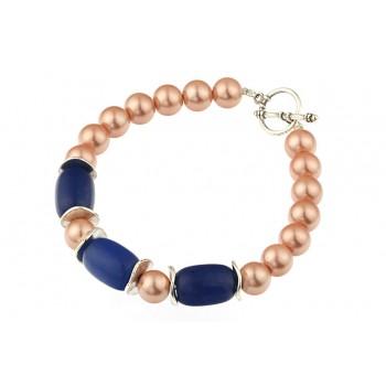 Bratara perle de Mallorca si agat albastru