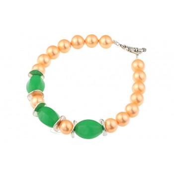 Bratara perle de Mallorca si jad verde