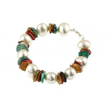 Bratara perle de Mallorca si perle Biwa multicolore