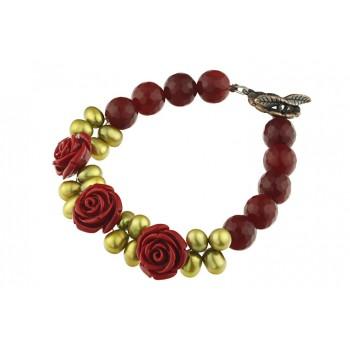 Bratara trandafiri coral, perle oliv si jad rosu