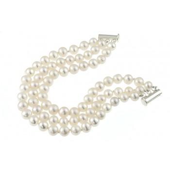 Bratara trei siraguri din perle naturale 6 - 8 mm A si argint