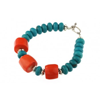 Bratara turcoaz natural si coral portocaliu