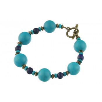 Bratara turcoaz natural si lapis lazuli