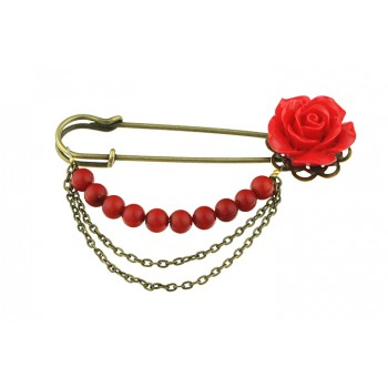 Brosa agrafa cu trandafir si coral rosu