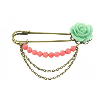 Brosa agrafa cu trandafir si coral roz