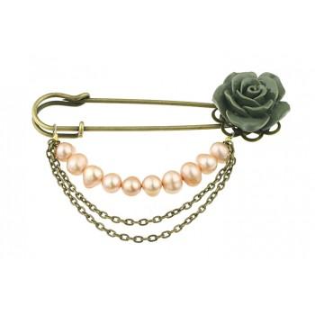 Brosa agrafa cu trandafir si perle de cultura