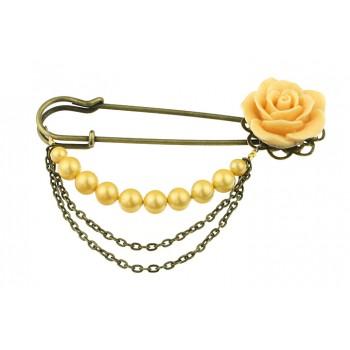 Brosa agrafa cu trandafir si perle de Mallorca