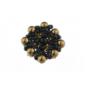 Brosa brodata din perle de Mallorca maro si onix