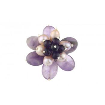 Brosa floare din ametist si perle de cultura