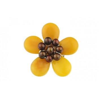 Brosa floare din jad galben si perle maro