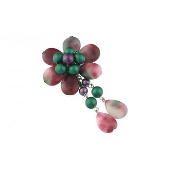 Brosa floare din jad si perle de Mallorca