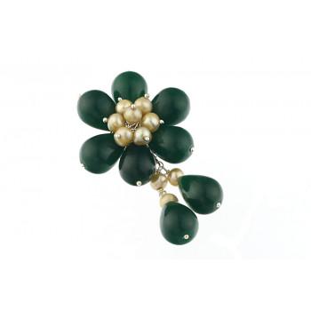 Brosa floare din jad verde si perle de cultura