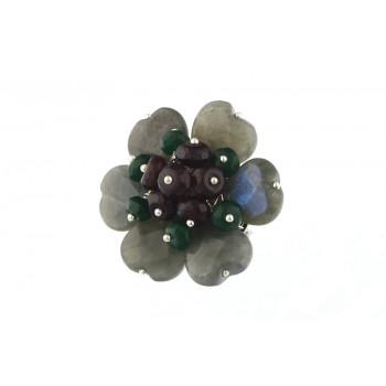 Brosa floare din labradorit si jad