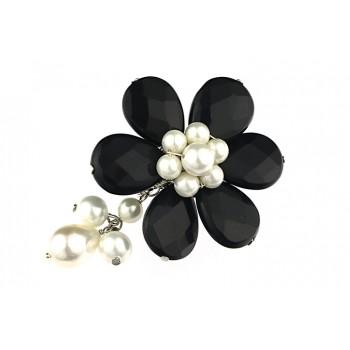 Brosa floare din onix si perle de Mallorca