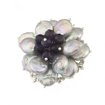 Brosa floare din perle naturale Biwa argintii si ametist