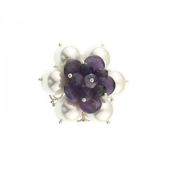 Brosa floare din perle de Mallorca si ametist