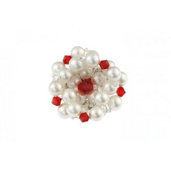 Brosa floare din perle de Mallorca si cristale Swarovski