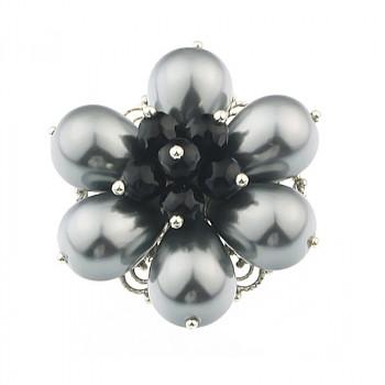 Brosa floare din perle de Mallorca si onix