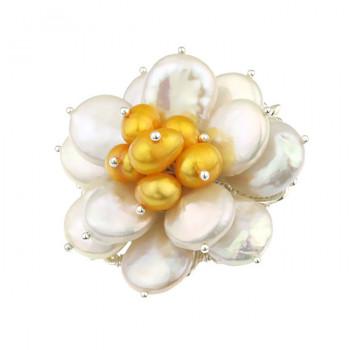 Brosa floare din perle naturale albe si galbene