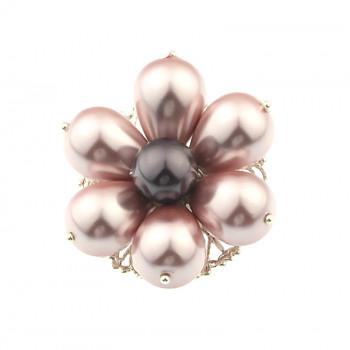 Brosa floare roz din perle de Mallorca