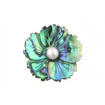 Brosa floare sidef Paua si perla alba