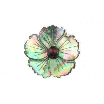 Brosa floare sidef Paua si perla grena