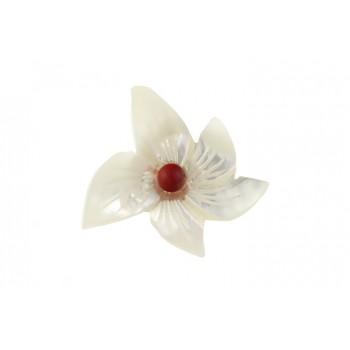 Brosa floare sidef si coral rosu