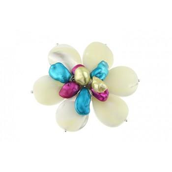 Brosa floare sidef alb si perle Biwa