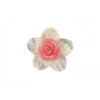Brosa floare sidef si trandafir coral roz