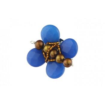 Brosa fluturas din jad albastru si perle de cultura