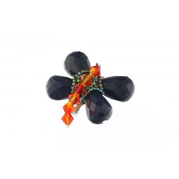 Brosa fluturas din jad si cristale Swarovski Fire Opal