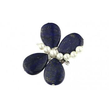 Brosa fluturas din lapis lazuli si perle de Mallorca