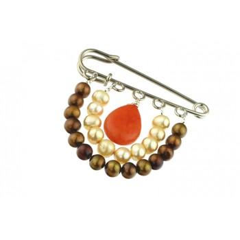 Brosa perle de cultura si jad portocaliu