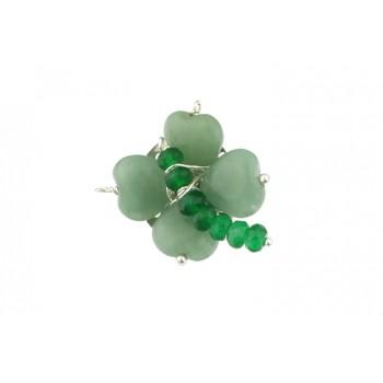 Brosa trifoi din aventurin si jad verde