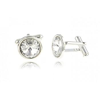Butoni din argint si Swarovski Crystal Clear