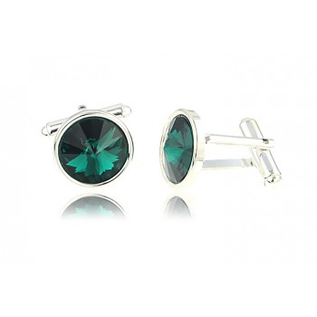 Butoni din argint si Swarovski Emerald