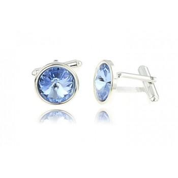 Butoni din argint si Swarovski Light Sapphire