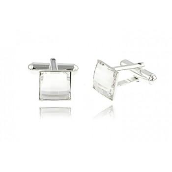 Butoni patrati din argint si Swarovski Crystal Clear