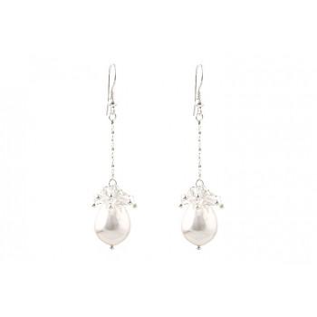 Cercei argint, perle de Mallorca si cristale Swarovski