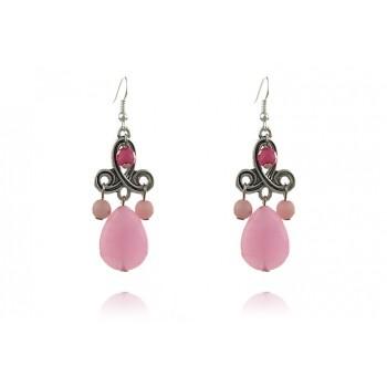 Cercei candelabru din jad roz