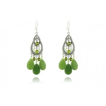 Cercei candelabru din jad verde si cristale Swarovski