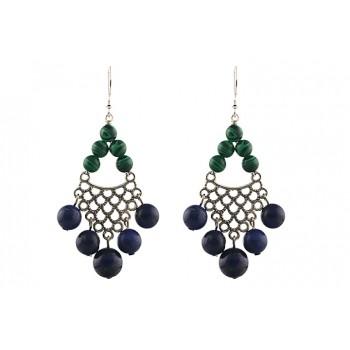 Cercei candelabru din lapis lazuli si malachit
